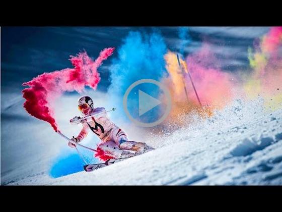 Як лижник розфарбував сніг. Захоплююче відео