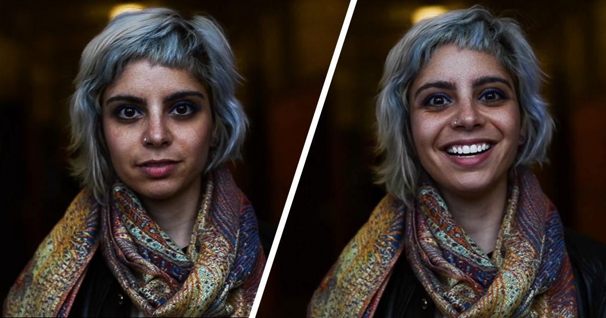 Студентка показала, як змінюються обличчя людей після компліменту