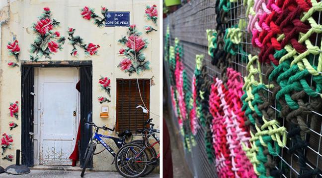 Новий вид стріт-арту: вулиці Мадрида прикрасили яскравою вишивкою