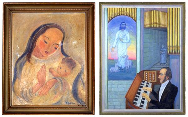 """""""Мадонна з дитиною"""" (праворуч), """"Натхнення"""" (ліворуч)"""