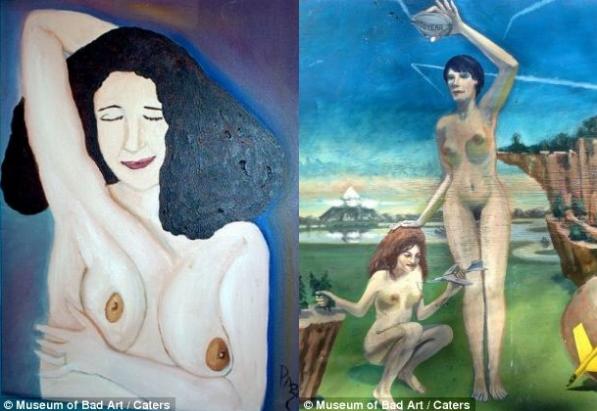 Провокаційно: оголена жінка, яка почухує свої пахви (ліворуч), дві оголені жінки, які граються літачкам (праворуч)