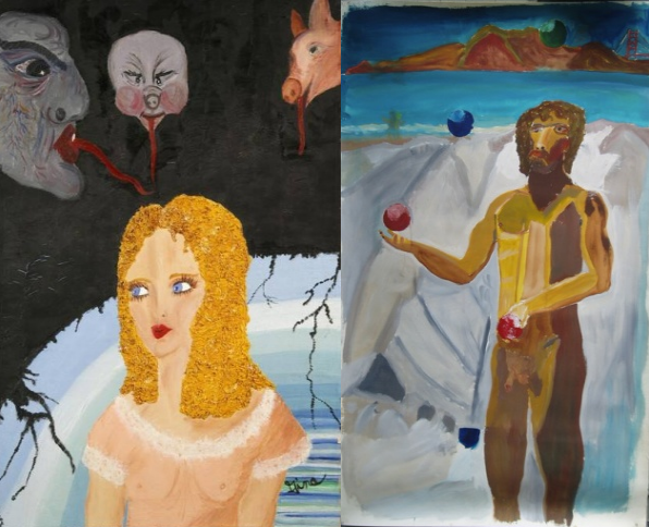 Демони Джини (ліворуч), Автопортрет (праворуч)