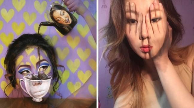Корейська візажистка малює на своєму обличчі приголомшливі оптичні ілюзії
