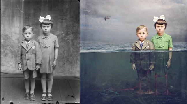 Фотограф перетворила вінтажні знімки у сюрреалістичні витвори мистецтва