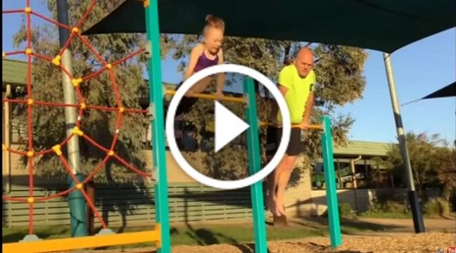 Тато копіює вправи доньки-гімнастки