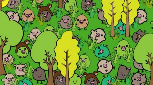Як швидко ви зможете знайти в цьому лісі маленьку  свинку?