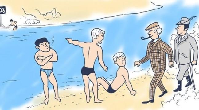 Один з цих плавців – злочинець, і детектив одразу зрозумів, хто саме. А ви здогадалися?
