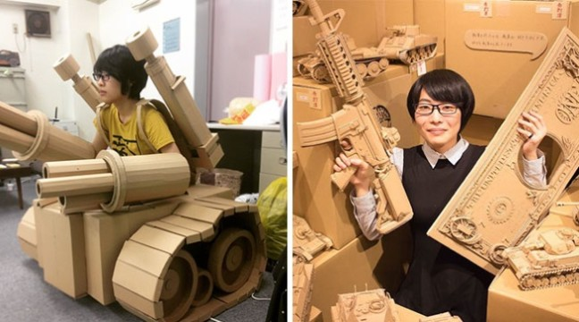 Японка перетворює старі картонні коробки у танки, їжу та інші круті скульптури