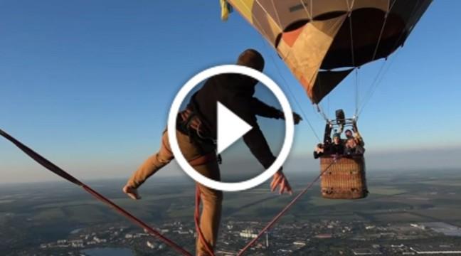 Українець встановив новий рекорд, пройшовшись по стропі між двома повітряними кулями на висоті 660 метрів
